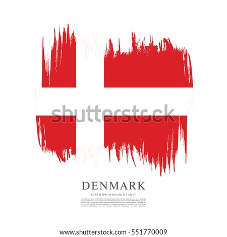 Flag of Denmark, brush stroke background #551770009