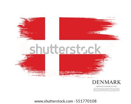 flag of denmark  brush stroke
