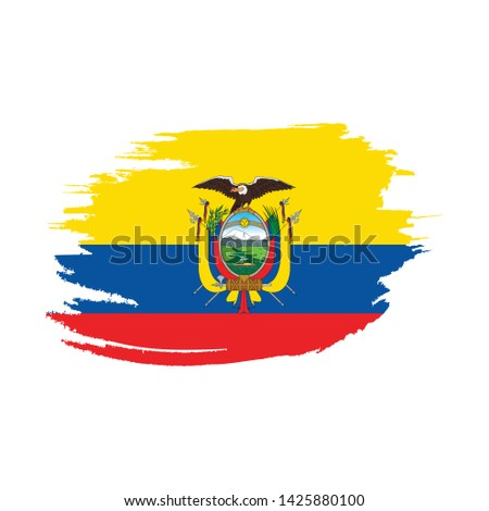 Flag of Ecuador with brush stroke effect, Ecuador flag template design. Vector Eps 10
