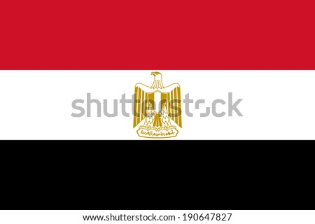 Flag of Egypt with coat of arms. Vector. Accurate dimensions, elements proportions and colors.