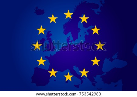 flag of European Union and map of Europe background. Eu sign. Vector illustration