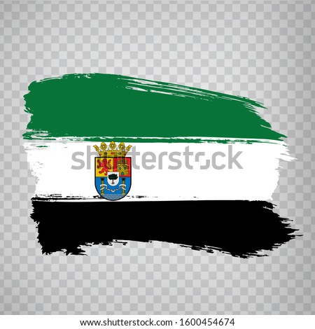 Flag of Extremadura brush strokes. Flag Autonomous Community Extremadura of Spain on transparent background for your web site design, logo, app, UI. Kingdom of Spain. Stock vector.  EPS10.