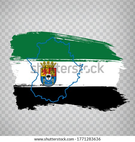Flag of Extremadura from brush strokes. Blank map of Extremadura. Kingdom of Spain. High quality map and flag Extremadura for your web site design, logo, app  on transparent background.  EPS10.