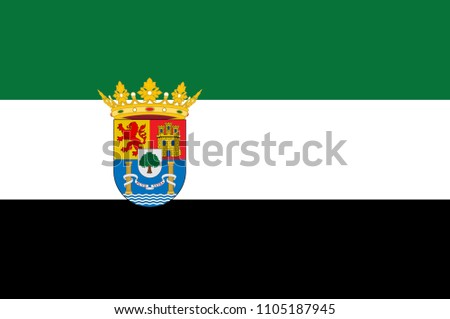 Flag of Extremadura is an autonomous community of western Iberian Peninsula whose capital city is Merida, recognised by the State of Autonomy of Extremadura. Vector illustration
