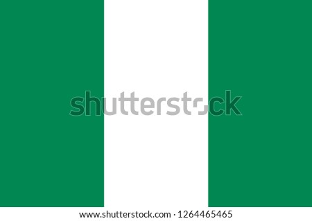 Flag of Federal Republic of Nigeria in West Africa. Vector illustration
