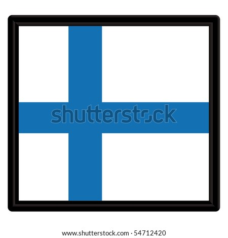 Flag of Finland with a black frame