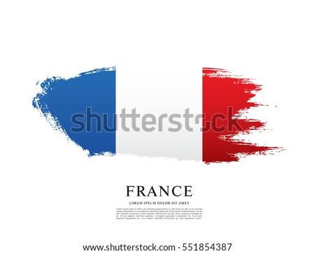 Flag of France, brush stroke background