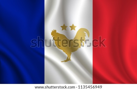 Flag of France with rooster and star background, vector illustration.
