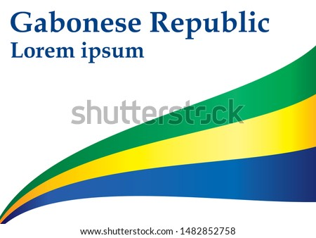 Flag of Gabon, Gabonese Republic. Template for award design, an official document with the flag of Gabon. Bright, colorful vector illustration.