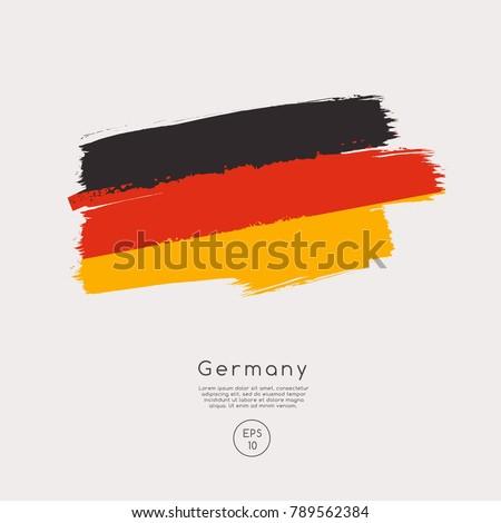 Flag of Germany in Grunge Brush Stroke : Vector Illustration