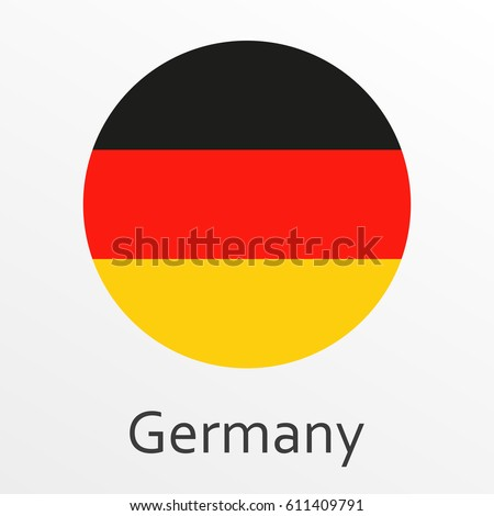 Flag of Germany round icon, badge or button. German national symbol. Vector illustration.