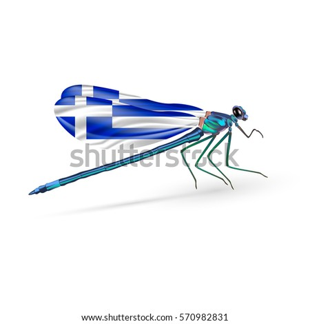 flag of greece on dragonfly
