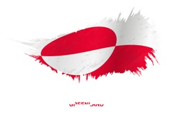Flag of Greenland in grunge style with waving effect, vector grunge brush stroke flag.