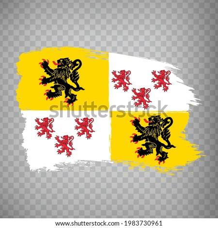Flag of Hauts-de-France brush strokes. Flag Region Hauts-de-France of France on transparent background for your web site design, app, UI. French Republic.  EPS10. Photo stock ©