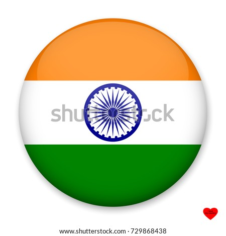 Flag of India in the form of a round button with a light glare and a shadow. The symbol of Independence Day, a souvenir, a button for switching the language on the site, an icon.