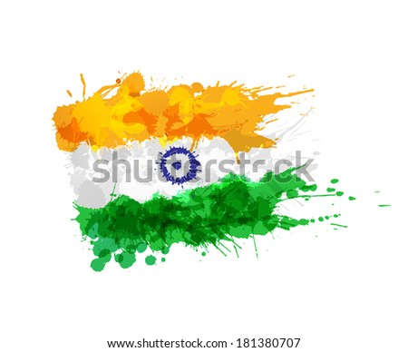 flag of india made of colorful