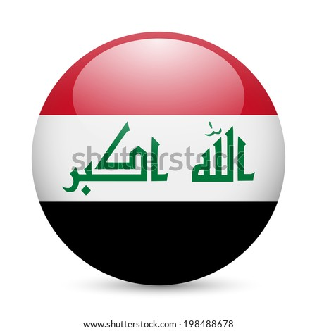 flag of iraq as round glossy