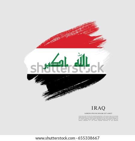 flag of iraq  brush stroke