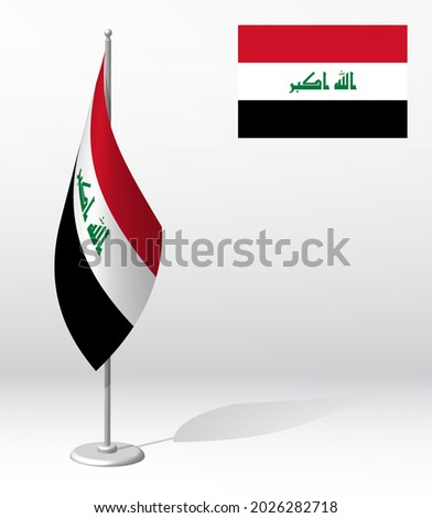 flag of IRAQ on flagpole for registration of solemn event, meeting foreign guests. National independence day of IRAQ. Realistic 3D vector on white