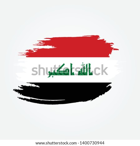 Flag of Iraq with brush stroke effect, Iraq Flag template design. Vector Eps 10