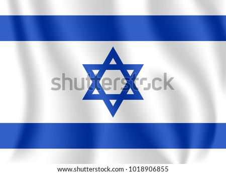 Flag of Israel. Realistic waving flag of State of Israel. Fabric textured flowing flag of Israel.
