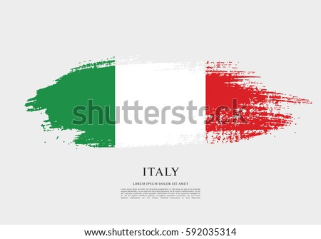 Flag of Italy, brush stroke background