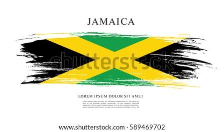flag of jamaica  brush stroke