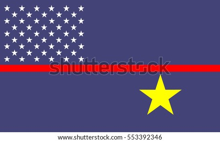 Flag of Jarvis Island vector illustration. South Pacific territory of United States of America. #553392346