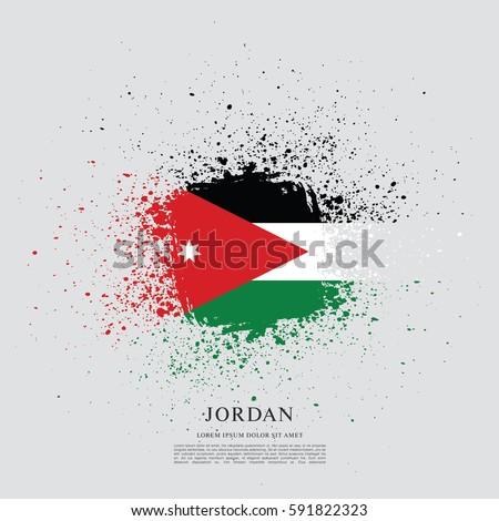 flag of jordan  brush stroke