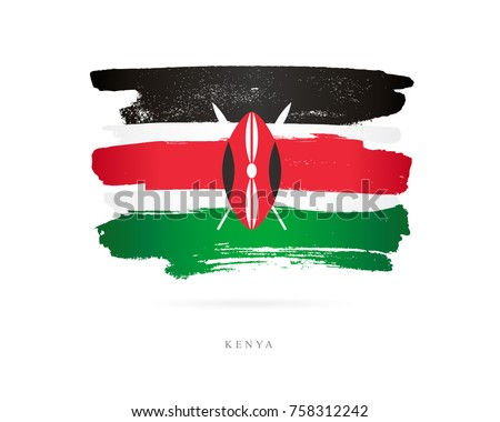 Flag of Kenya. Vector illustration on white background. Beautiful brush strokes. Abstract concept. Elements for design.