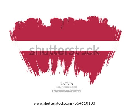 Flag of Latvia, brush stroke background #564610108