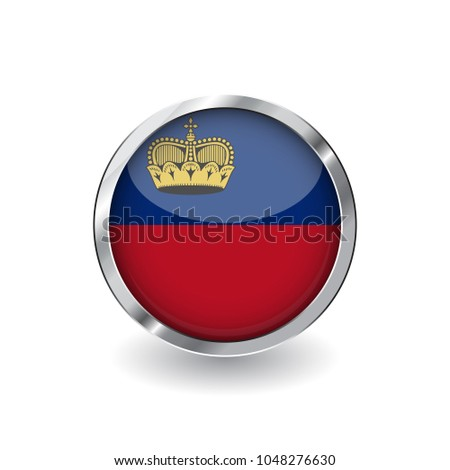 Flag of liechtenstein, button with metal frame and shadow. liechtenstein flag vector icon, badge with glossy effect and metallic border. Realistic vector illustration on white background.