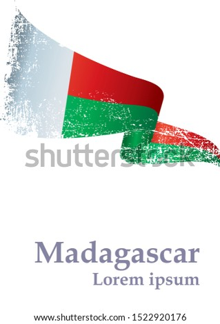 Flag of Madagascar, Republic of Madagascar. Template for award design, an official document with the flag of Madagascar. Bright, colorful vector illustration for graphic and web design.