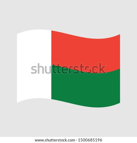 Flag of Madagascar wave, Madagascar flag template design. Vector eps 10
