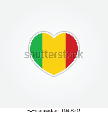 Flag of Mali heart 3d button, Mali flag template design. Vector Eps 10. Vector Eps 10