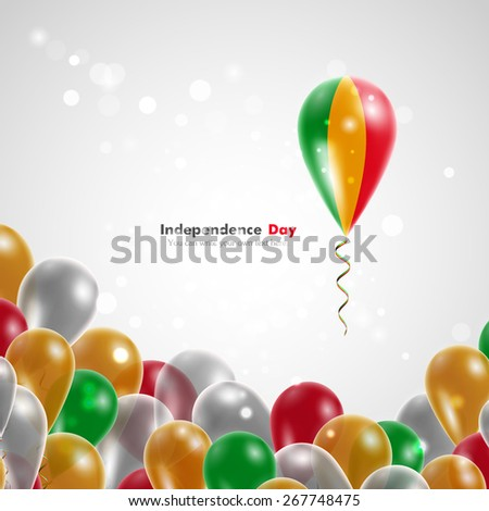 Flag of Mali on balloon. Celebration and gifts. Balloons on the feast of the national day.