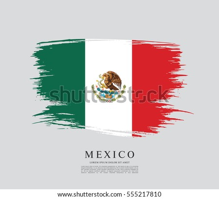 Flag of Mexico, brush stroke background