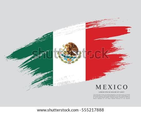 flag of mexico  brush stroke