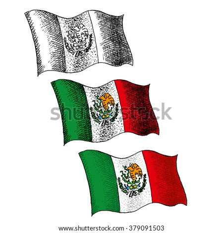 Flag of Mexico - Illustration - engraving