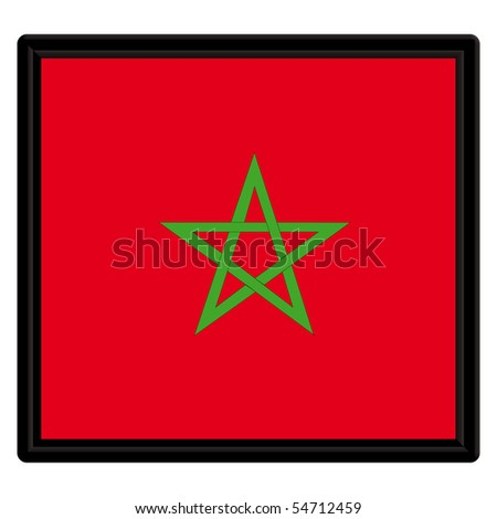 Flag of Morocco with black frame
