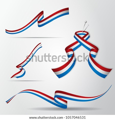 Flag of Netherlands. Dutch ribbons set. Vector illustration.