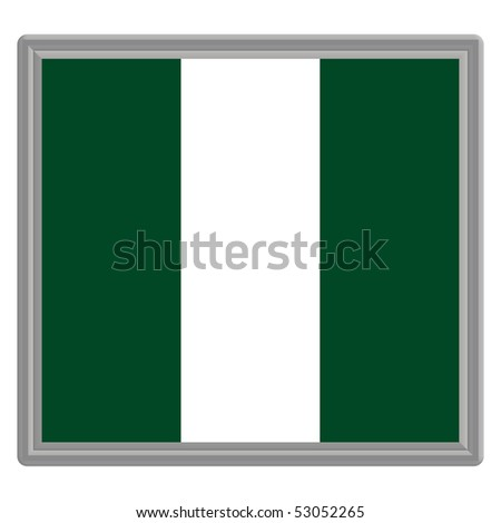 Flag of Nigeria with silver frame