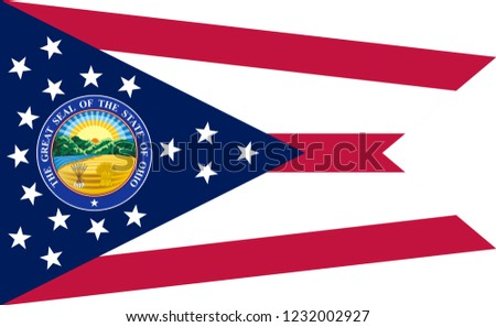 Flag of Ohio is a state of United States. Vector illustration