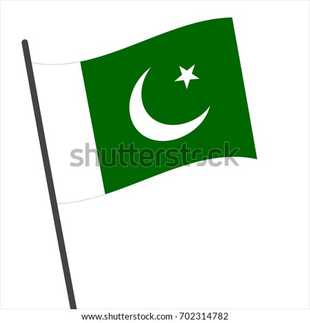 Flag of Pakistan , Pakistan flag waving isolated vector illustration