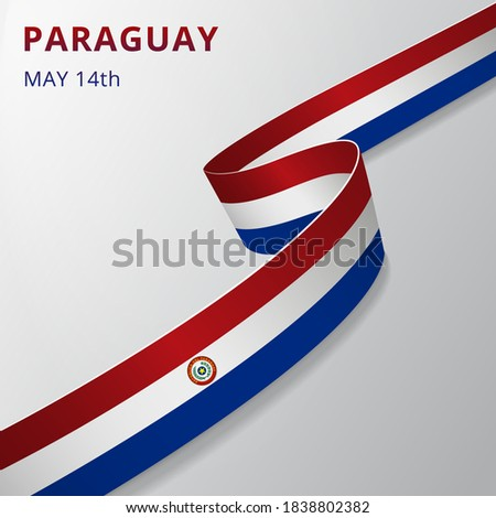 Flag of Paraguay. 15th of May. Set of realistic wavy ribbons in colors of paraguayan flag. Independence day. National symbol. Vector illustration. EPS10 Stockfoto ©
