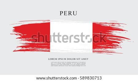 Flag of Peru, brush stroke background