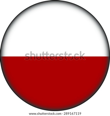 Flag of Poland as round glossy icon. Button with Polish flag #289167119