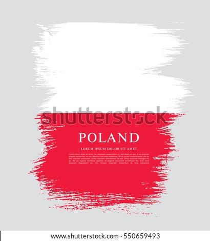 flag of poland  brush stroke