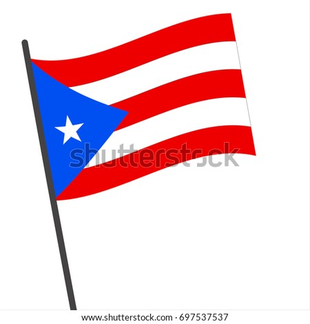 Flag of Puerto Rico , Puerto Rico flag waving isolated vector illustration