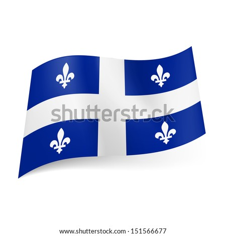 Flag of Quebec, province of Canada: central white cross and symmetric pattern of white fleurs-de-lis on blue background.